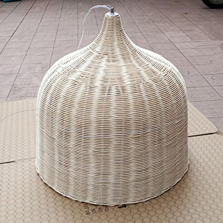 GRFH Natürliche Bambus und Rattan Traditionelle Landschaft Handgefertigte Pendelleuchte Hotel Café Deckenleuchte Bambus Bar Licht E27 110V 220V, Natural Diameter 30cm