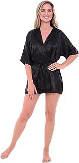 Del Rossa Womens Soild Color Satin Robe, Short Dressing Gown