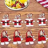 LATTCURE Weihnachten Bestecktasche 8PCS Weihnachtsdeko Taschen Tischdekoration Besteckbeutel Besteckhalter Tischdeko Besteck Weihnachtsmann Kostüm Serviettentasche mit Kleine Hosen und Kleidung