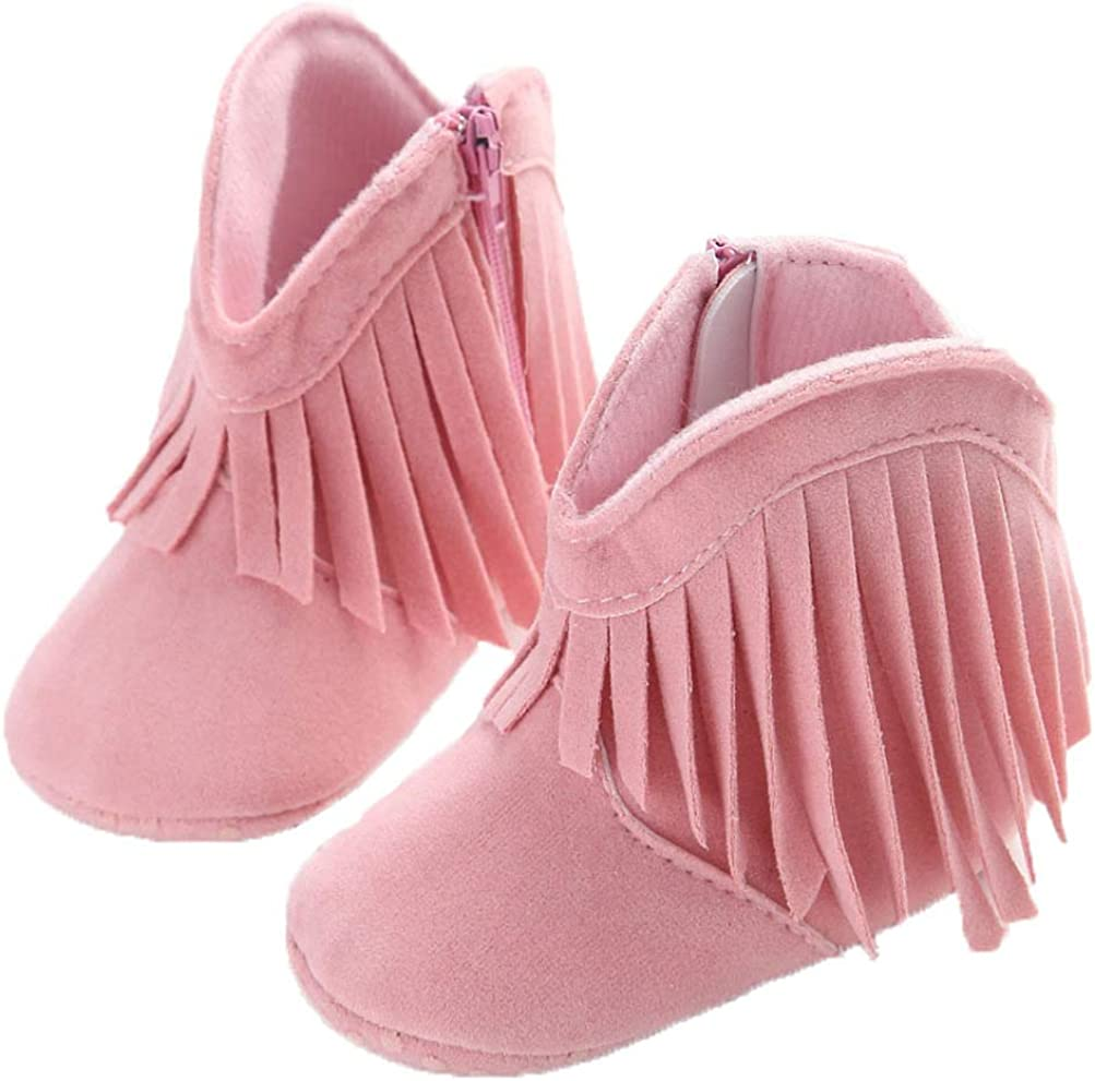 EDOTON Baby Girls Cowboy Boots Tassel Soft Bottom Non-Slip Boots Toddler Shoes Infant Winter Warm Shoes