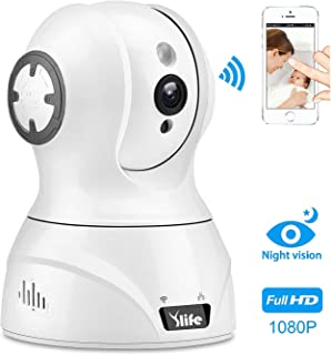 Ylife WiFi Wireless Security Camera, 1080P HD IP Camera Works with Alexa, Pan/Tilt/Zoom Video Baby Pet Monitor Camera with Two Way Audio, Night Vision, Motion Detection, Indoor Home Dome Surveillance