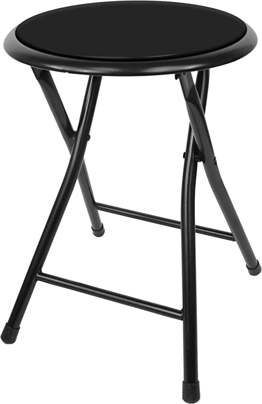 Trademark Home A022284 Collection Folding Heavy Duty 18 Inch Collapsible Padded Round Stool With 300 Pound Capacity For Dorm Rec Room Or Gameroom Midnight