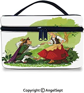 Makeup Artist Organizer Portable Bag,Prince Putting Glass Shoe on His Girlfriend Fantasy Fairytale Romance Illustration Multicolor,10x7x6inches,Multifunction Bag Gift for Girls Women