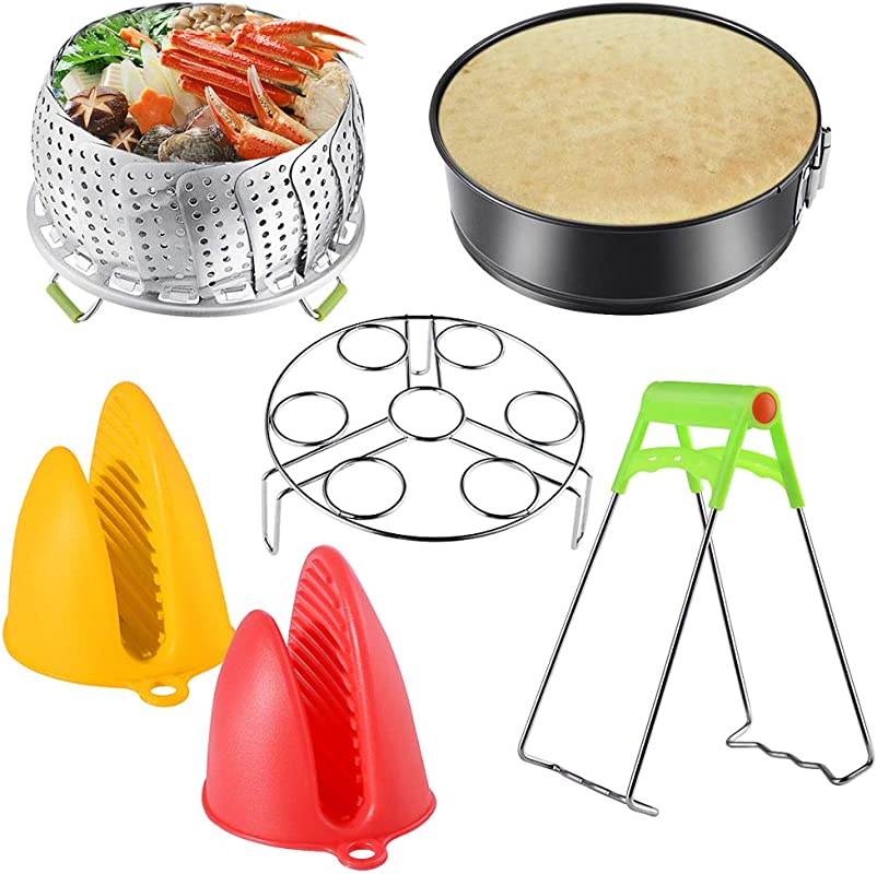 Instant Pot Accessories Set With Steamer Basket Egg Steamer Rack Non Stick Springform Pan Steaming Stand 1 Pair Silicone Cooking Pot Mitts 6 Piece Fits 5 6 8 Qt Instant Pot Pressure Cooker