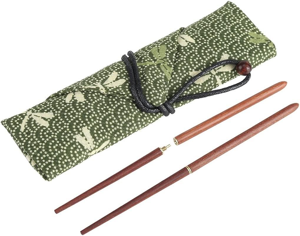 Portable Wood Chopsticks Camping Foldable Sandalwood Travel With Cloth Bag Of Tableware Set Brown
