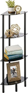 mDesign Household Floor Storage Corner Tower, 4 Tier Open Glass Shelves - Compact Shelving Display Unit - Multi-Use Home O...