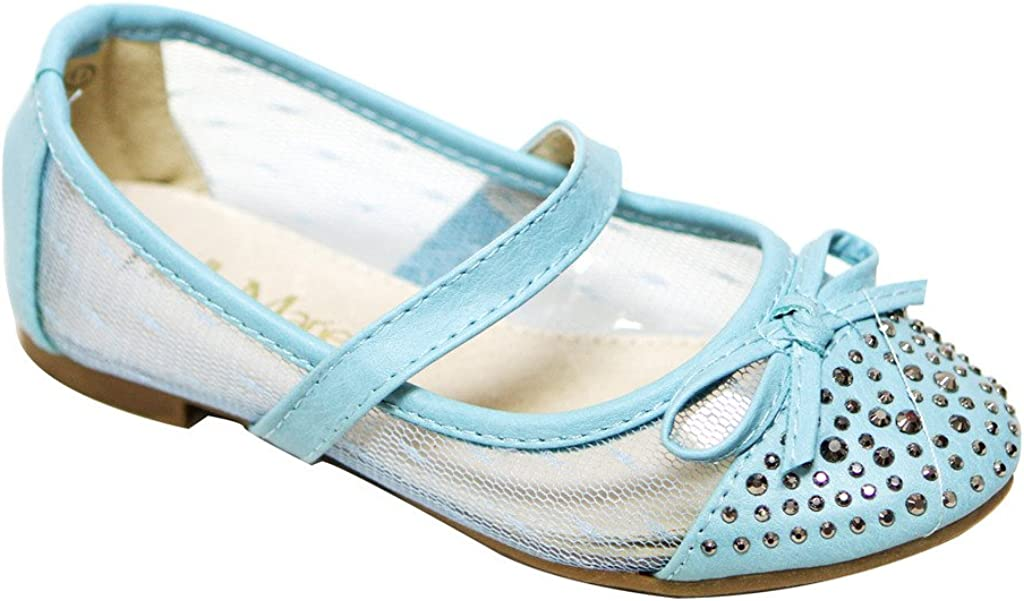 Bella Marie Dana-9K Kids Rounded Toe Beads & Bow Knot Decor Toe Box mesh PU Squeaky Ballerina Boat Shoes
