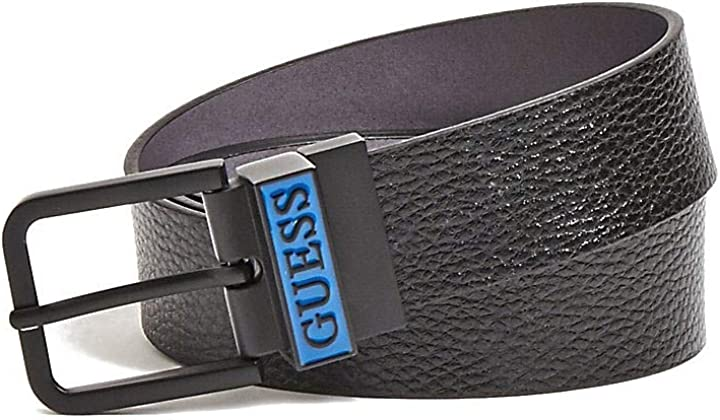 Cintura da uomo in pelle guess, reversibile, colore: nero B07YTYWKT9