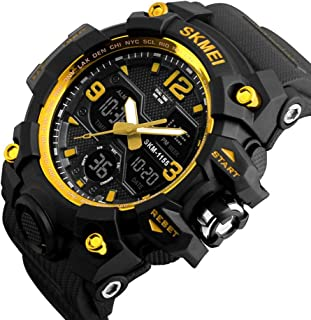 Watch Outdoor Sports Waterproof 5ATM Gift Box Double Time Chronograph Luminous Alarm Clock Black Blue Gold Red Man Boy Student Multi-Function Electronic Watch, Fashion Watch (Color : Gold)