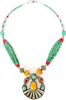 TIBETAN SILVER HANDMADE NECKLACE AMBER TURQUOISE CORAL GEMSTONES UNIQUE DESIGNER JEWELRY FASHION NECKLACE FOR WOMAN TRIBAL ETHNIC MULTI STRAND OXIDIZED SILVER NECKLACE BY ARTISANS