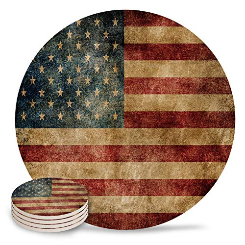 Absorbent Coasters for Drinks Set of 4 - Vintage Retro American Flag Round Drink Coasters Set, Ceramic Stone and Cork Base Cup Mat Pad, Housewarming Gift, Home Kitchen Room Bar Decor