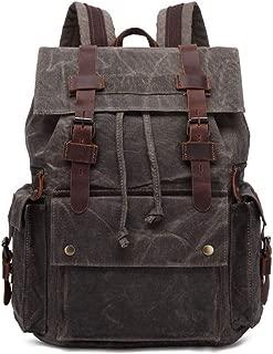 "Rjj Retro Men's Bag Canvas Backpack 15.6"" Laptop Bag Outdoor Travel Backpack Waterproof Female Bag Wearable Large Capacity 33 * 16*H43CM Exquisite (Color : Green)"