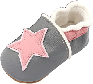 LPATTERN Winter Warm Baby Boys/Girls Soft Leather Slip-On Infant &Toddler Shoes First Walking Shoes, Rose Star in Grey, 12-18 Months(Label: L)