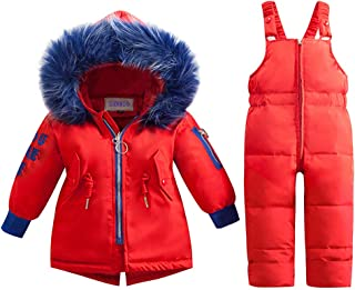 Baby Boys Girls Two Piece Snowsuit, Toddler Winter Hooded Puffer Down Jacket Coat with Ski Bib Pants