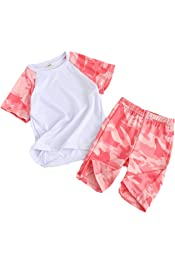 Coralup Boys Girls Clothing Sets Kids Sports Outfit Set Camouflage Tops Shorts 2Pcs 4 Colors 2-13 Years