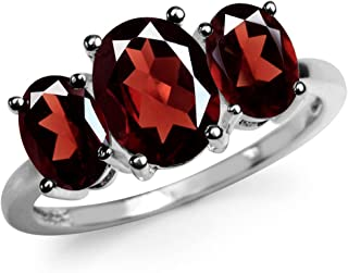 3.87ct. 3 Stone Natural Garnet White Gold Plated 925 Sterling Silver Ring