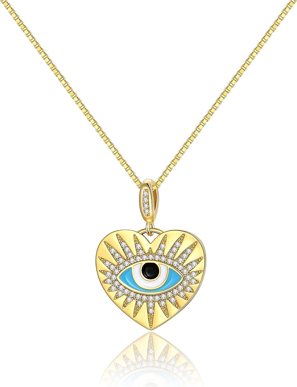 FAMARINE Gold Heart Evil Eye Protection Necklace for Women, Girls Lucky Ojo Necklace Gold Evil Eye Nazar Amulet Jewelry