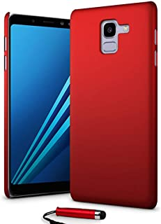24/7 Oliver Samsung Galaxy A8 2018 hårt fodral ultratunt skal bakskydd + Samsung Galaxy A8 2018 skärmskydd + pekpenna (röd)