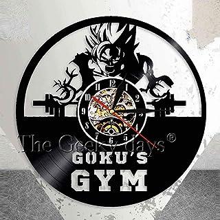 CVG Work out Training Goku & # 39; s Gym Decoración de Pared Reloj de Pared Fitness Club Anime Vinyl Record Reloj de Pared Dragonball Z Men 's Muscle Wall Art