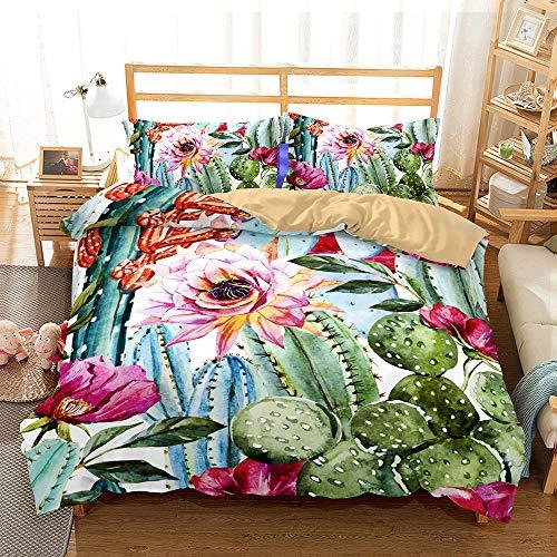Funda Nórdica de Algodón Impresa en Alta Definición en 3D Dormitorio de flores de Cactus Juego de Cama de Doble Edredón Juego de Tres Piezas de Cuatro Piezas (Excluyendo Sábanas) size 220*260cm