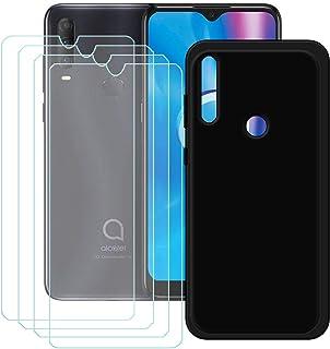 YZKJ Skal för Alcatel 1 V 2020 Cover svart silikon skyddsfodral TPU skal fodral 4 stycken pansarglas skärmskydd skyddsfoli...