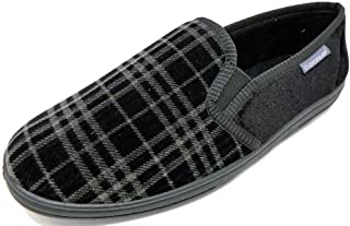 Dunlop Mens Famous Lance Velvet Slippers with Elasticated Gussets