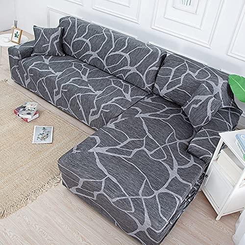 MKQB Funda de sofá de Sala de Estar, Funda de sofá de impresión elástica, Funda de sofá Modular de Esquina en Forma de L Antideslizante Envuelto herméticamente NO.6 XL (235-300cm)