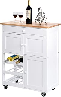 Giantex Modern Rolling Kitchen Trolley Cart w/Drawer & Wine Rack Storage Cabinet Home Restaurant Island Serving Cart w/Wheels (White)