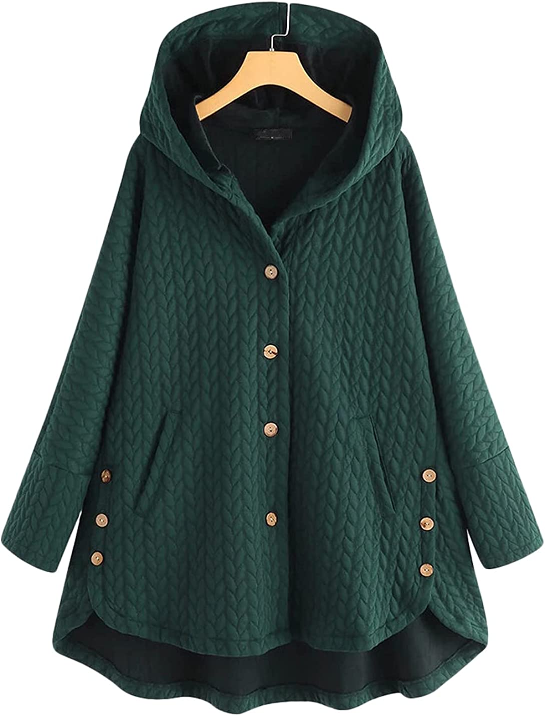 Jenkoon Women's Mid-Length Quilted Hooded Coat Warm Jackets Outerwear