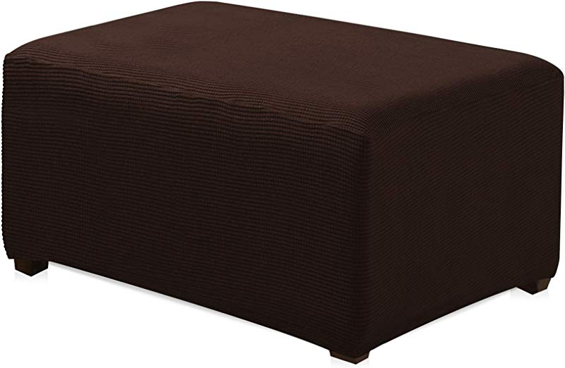 CHUN YI Oversized Ottoman Slipcover Jacquard Polyester Stretch Fabric Rectangle Folding Storage Stool Ottoman Cover Furniture Protector For Living Room Oversize Chocolate