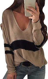 10e5949e230a69 Pengniao Maglioni Donna Maglione Scollo V Oversize Trecce Pullover  Intrecciato Donna Larghi Maglioncino Lunghi Invernali Maglia