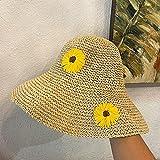WDSZLH Sombrero de Sol de Estilo Veraniego para Mujer, Sombreros de Paja de ala Ancha, Sombrero de Cubo con cúpula de ala Grande para niña de Playa