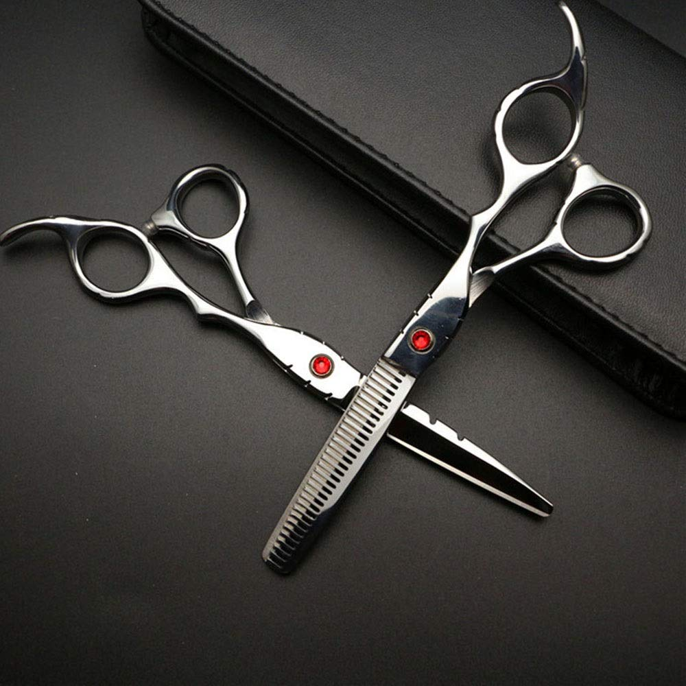 珍しい普通の登録6インチ美容院プロフェッショナル理髪セット、ハイエンド理髪はさみセット モデリングツール (色 : Silver)