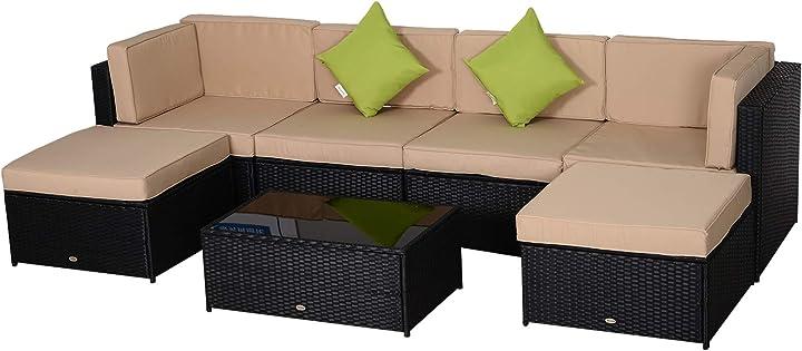 Salotto da esterni con poltrona pouf tavolino  7 pezzi outsunny set nero, beige IT860-002V020631