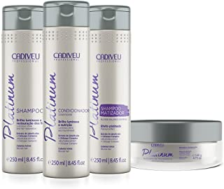 Cadiveu Platinum natural blonde treatment shampoo 250ml, Blonde Balance Shampoo 250ml, Conditioner 250ml and Mask 140ml. (set of 4)
