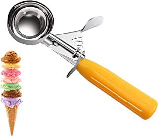 KITCHEN VENDOR Squeeze Ice Cream Scoop, NSF Certified Stainless Steel Disher, 1-5/8 oz, Yellow