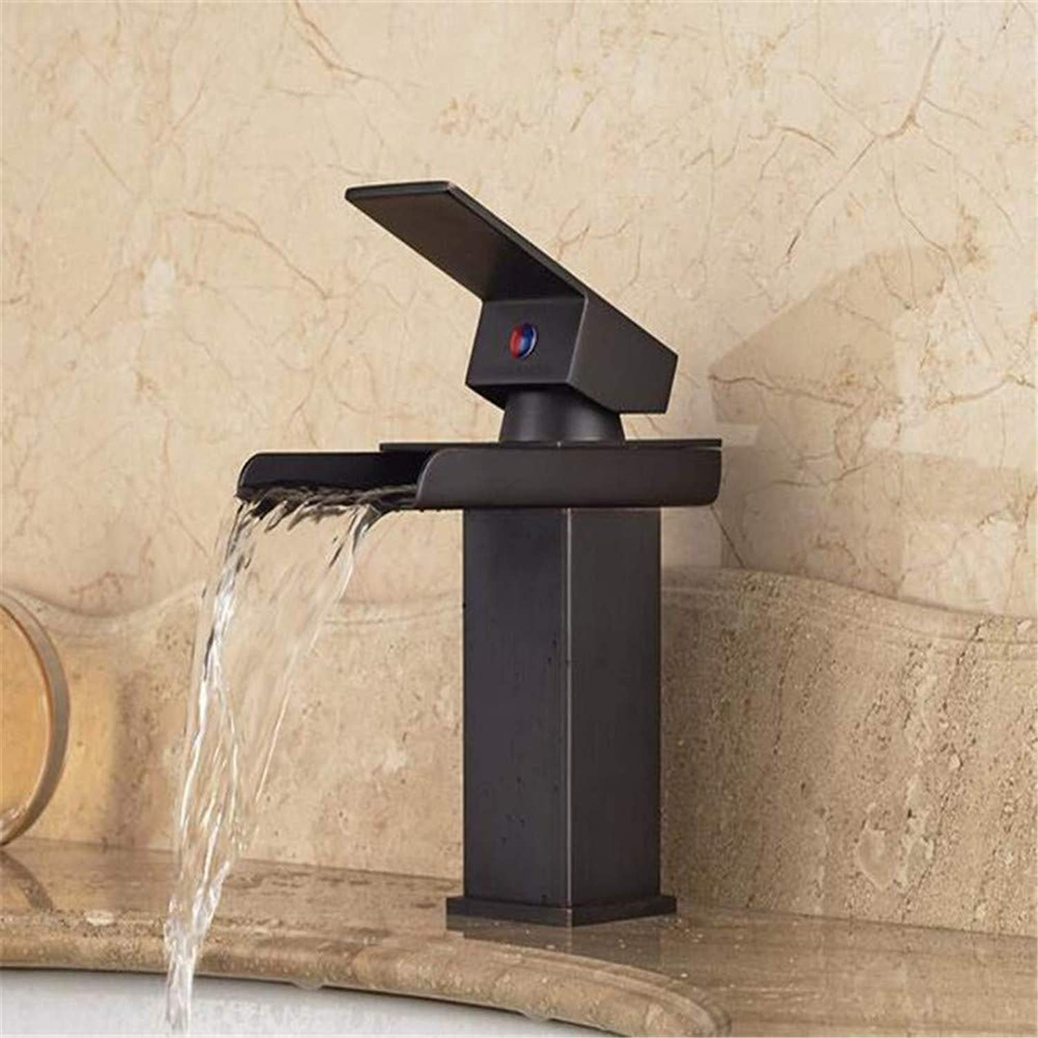 Faucetbasin Faucet Bathroom Sink Tap Single Handle Waterfall Bathroom Sink Faucet Deck Mount Brass Square Mixer Taps Oil Rubbed Bronze