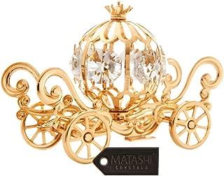 24K Gold Plated Crystal Studded Mini Cinderella Pumpkin Coach Ornament by Matashi