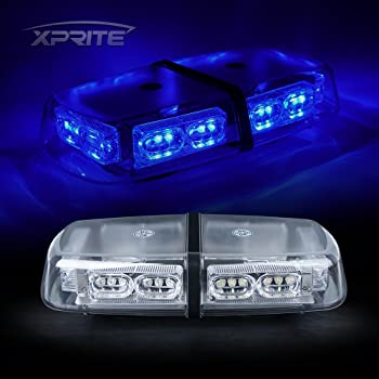 Xprite 44 LED 17 Inch High Intensity Law Enforcement Emergency Hazard Warning Flashing Car Truck Construction LED Roof Top Mini Bar Strobe Light with Magnetic Base Green