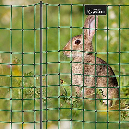 VOSS.PET Premium Kaninchenzaun petNET® 12m, 65cm Kaninchennetz Hasenauslauf Elektronetz Kleintiernetz Hasenzaun