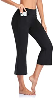 SEVEGO Women's Bootcut Capris Yoga Pants with Pockets Soft Workout Cropped Pants Stretchy Lounge Pants