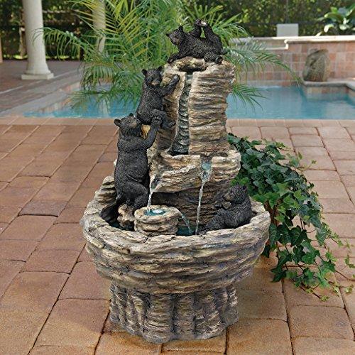 Water Fountain - Rocky Mountain Splash Black Bears Garden Decor Fountain - Outdoor Water Feature