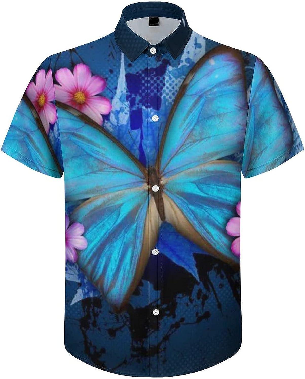 Hawaiian Shirts for Men Blue River Butterfly Printed Beach Shirt Hawaiian Shirts
