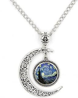 Half Moon Necklace Starry Night Pendant Vincent Van Gogh Art Handmade Jewelry