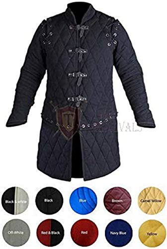 Medieval Thick Padded Full Sleeves Gambeson Coat Aketon Jacket Armor, Black Cotton Fabric