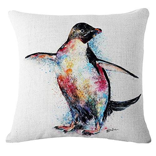 Nunubee Penguin Flax Linen Throw Pillow Covers Comfortable Cushion Cover Super Soft Pillowcase For Sofa Bed Decorative Pillows 45X45CM