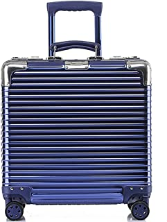 SRY-Luggage Aluminum Luggage Suitcase Male Universal Wheel Business Boarding Female Trolley Case Long Box Suitcase Small, 18 Inch Durable Carry on Luggage (Color : Blue)