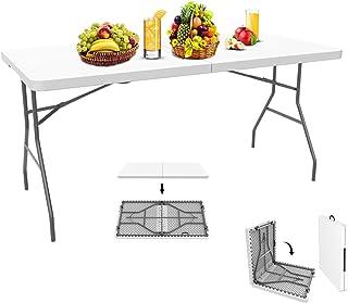 comprar comparacion Todeco - Mesa de Plástico Resistente, Mesa Plegable Portátil, 152 x 71.5 cm, Blanco, Plegable por la Mitad, Material: HDPE...