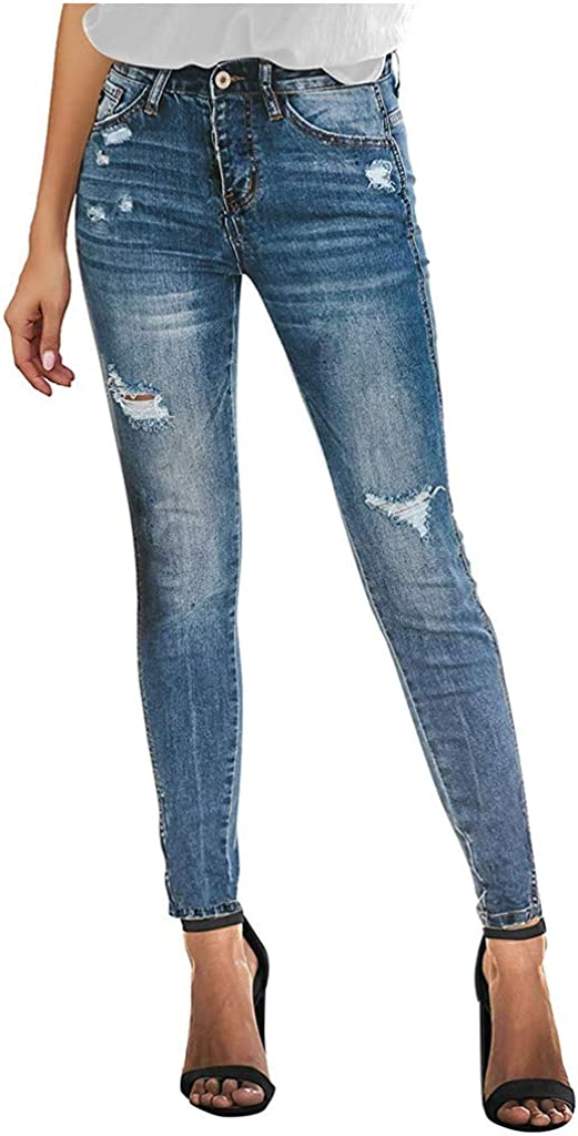Handyulong Women's Distressed Ripped Butt Lifting Skinny Jeans Stretchy Denim Pants with Holes Slim Fit Casual Leggings