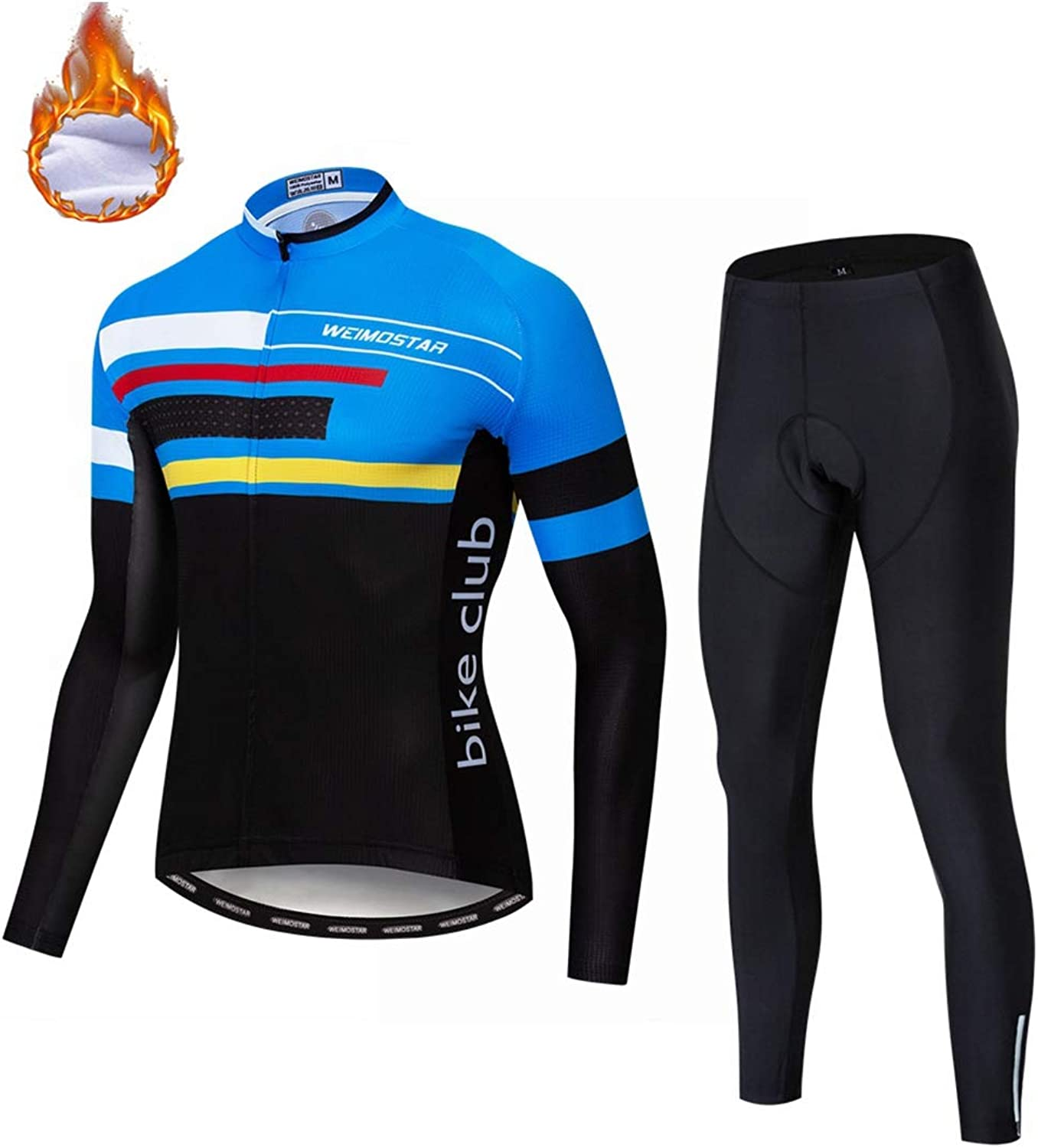 Weimomonkey Men's Cycling Clothing Set Long Sleeve Windproof Cycling Jersey Jacket 3D Padded Pants